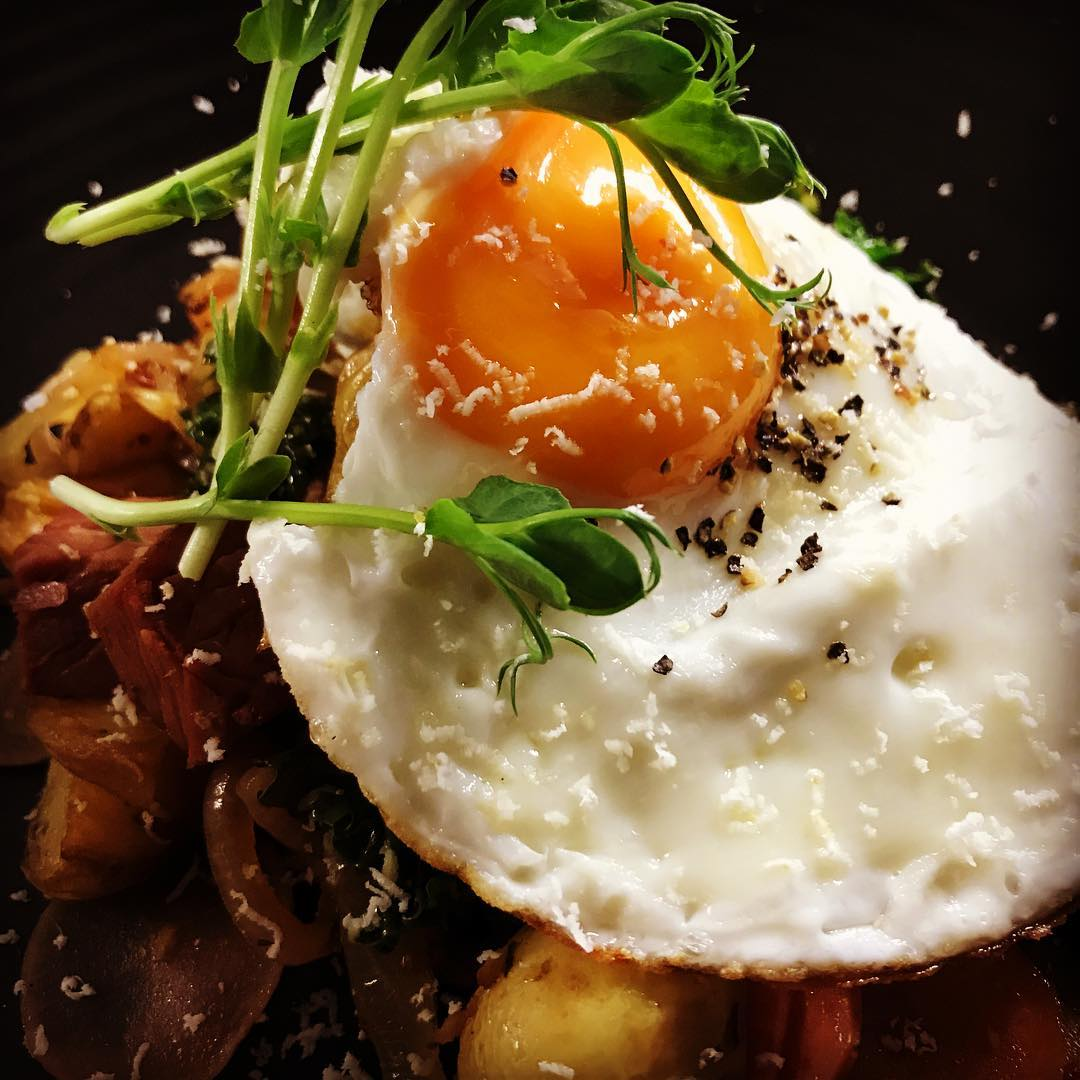 Corned beef hash with fried egg horseradish cream and availablehellip