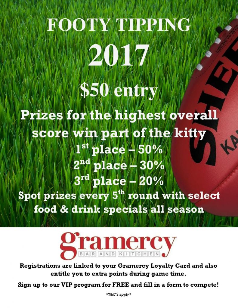 Footy Tipping 2017 Flyer to Gramercy Cocktail Bar in CBD Perth