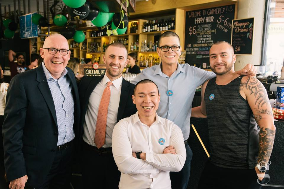 Group of men networking over drinks at Gramercy Bar and Kitchen in Perth